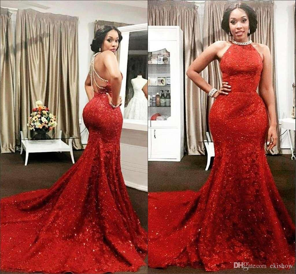 2017 Red Sequined Lace Mermaid Prom Dresses Halter Neck Long Party ...