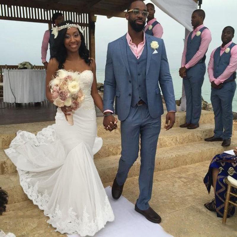 Semplice Bianco Beach Abiti da sposa Sweetheart Pizzo e Chiffon Sirena Summer Abiti da sposa Sweep Train African Abito da sposa a buon mercato