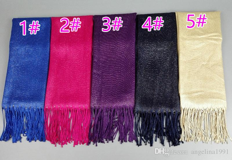 Women glitter solid color lurex scarf shawls muffler headband shimmer popular hijab autumn muslim scarves