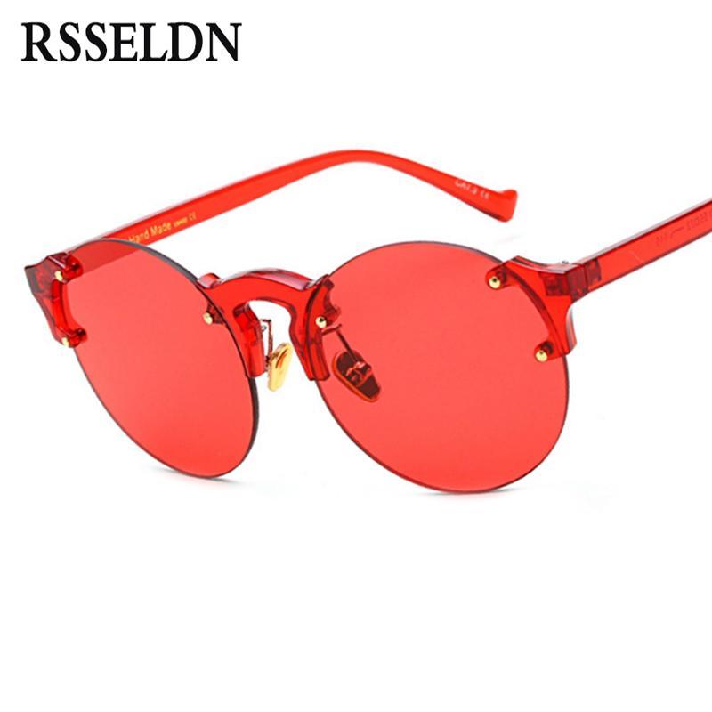 Compre RSSELDN 2017 Vintage Vermelho Amarelo Lente Rimless Óculos De Sol  Mulher Marca Designer De Alta Qualidade Moda Ronda Óculos De Sol Para Homens  UV De ... 8d986a5115