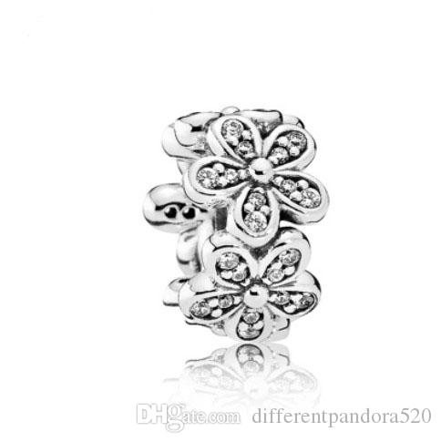 Fit Pandora Charm Bracelet White Cherry Blossom Flower European Silver Charms Beads DIY Snake Chain For Women Bangle Necklace Jewelry Xmas