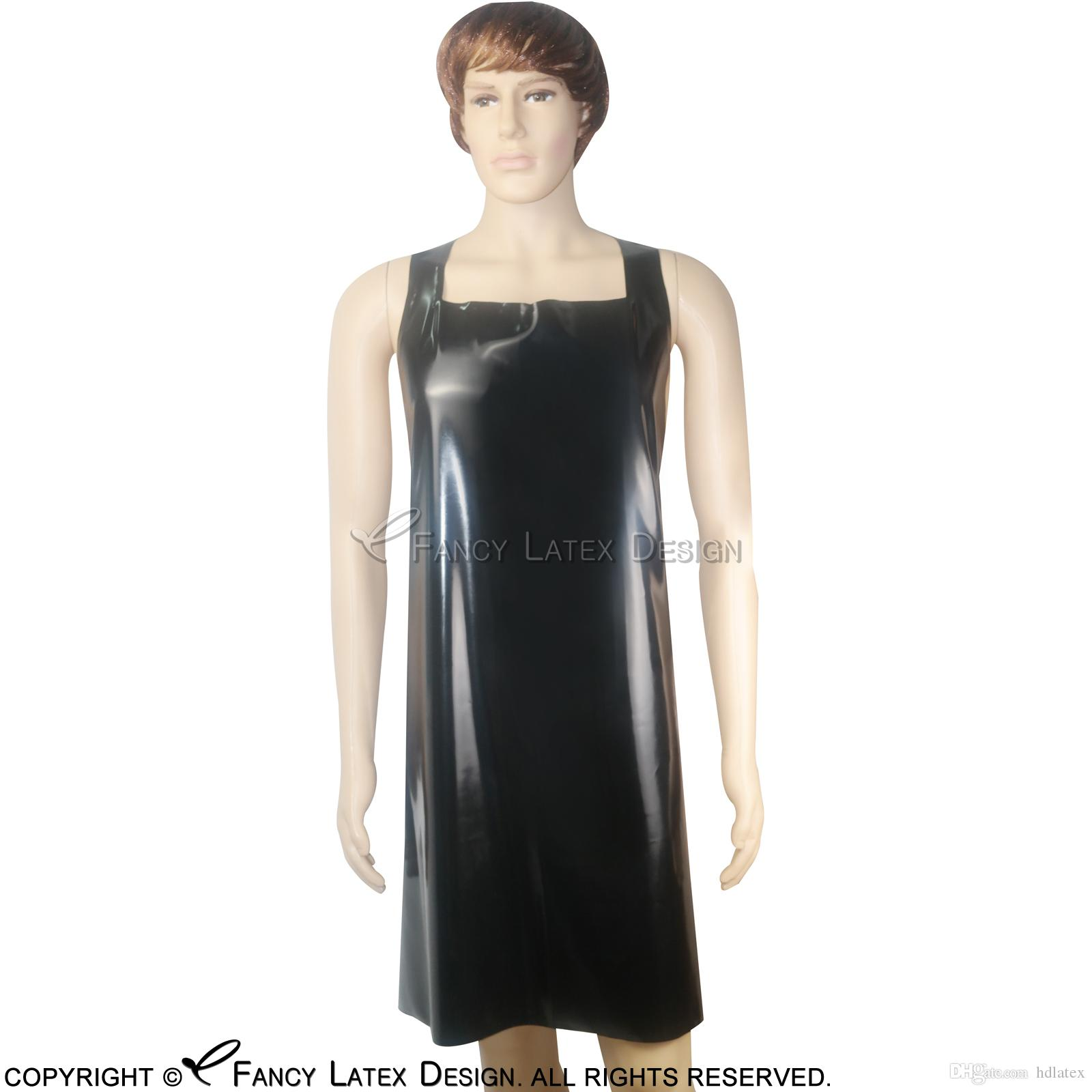 2018 halter black sexy latex apron with belts fetish rubber pinafore