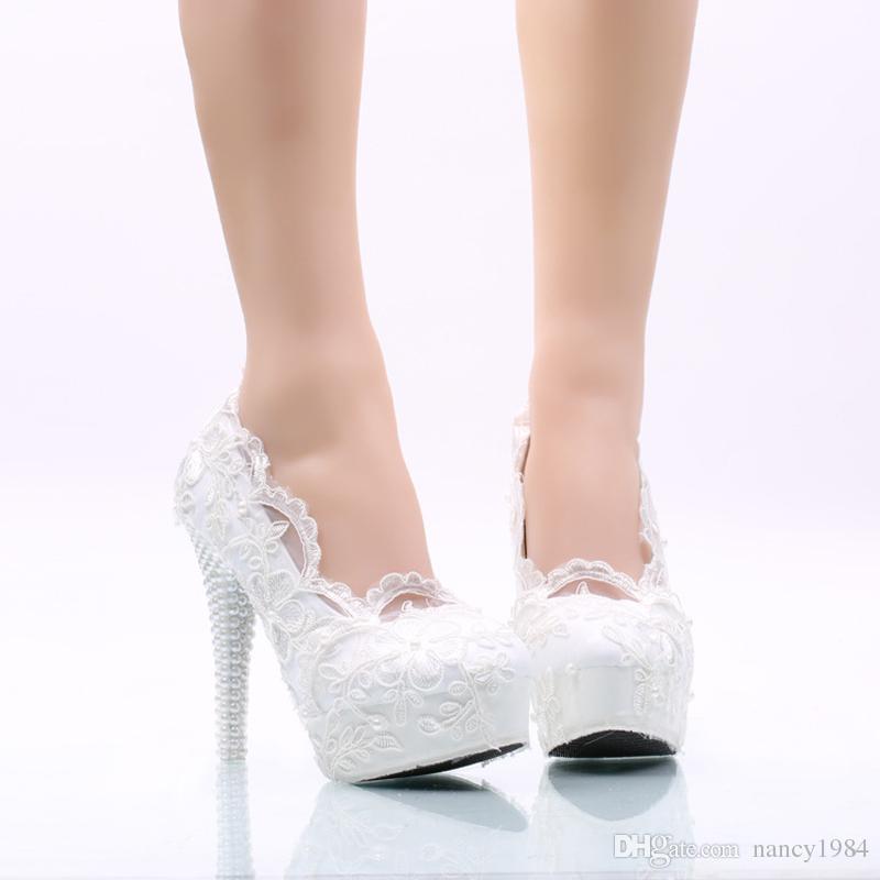 Weiße Blume Spitze Hochzeit Schuhe High Heel Plattformen Brautkleid Schuhe Erwachsene Zeremonie Pumps Brautjungfer Schuhe Plus Größe