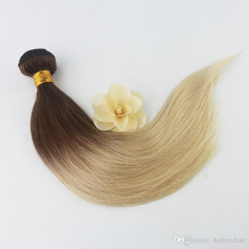 10A Virgin Brazilian Extension Free Hair Packs Two Tone Color #4/613 Wholesale Brazilian Hair Bundle Weave
