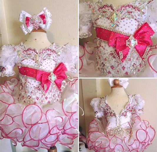 2018 blanc et rouge avec un noeud ajouré lacets perler des manches courtes filles scoop cupcake petite fête de la fête des fleurs robes robes juniors