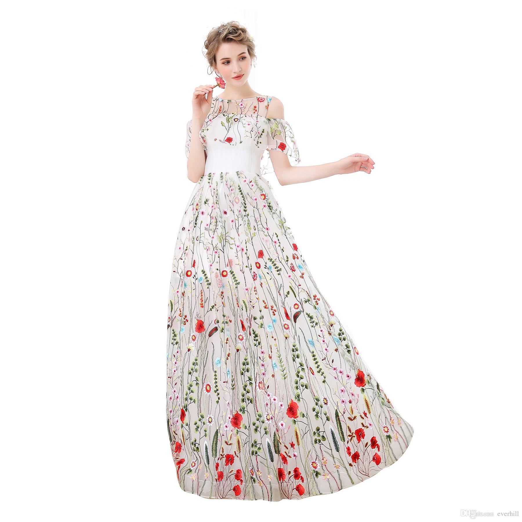 Acquista 2018 Abiti Da Donna Lunghi In Pizzo Elegante Abiti Da Ballo  Lunghezza Del Pavimento In Tulle Galajurk A Line Vedi Attraverso Abiti Da  Sera Floreali ... f14c5aac8e5