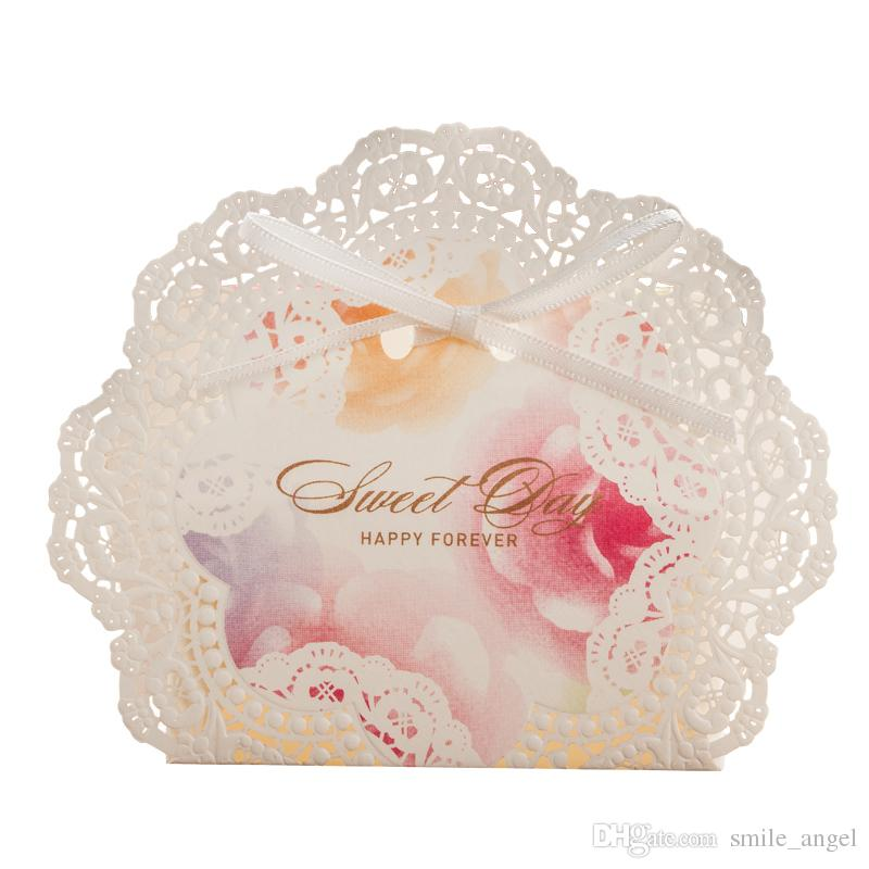 Wedding Favor Boxes Candy Gift Favors White Lace Laser Cut With Pink