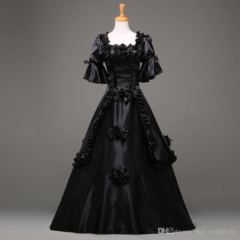 2016 Moda Preto Manga Curta Gótico Vitoriano Vestido de Festa de Halloween Traje vestido Personalizado