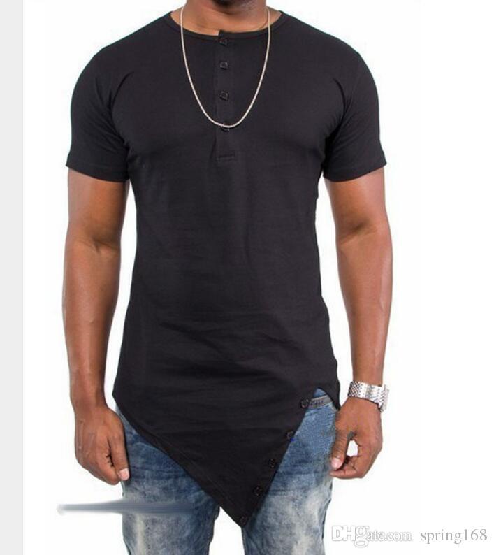 NOVA Kanye West Hip Hop Camiseta Irregular Tyga Algodão T-Shirt Novo Cesse Desist Paisley Bandana Gráfico Estendido Ganhos T-Shirt