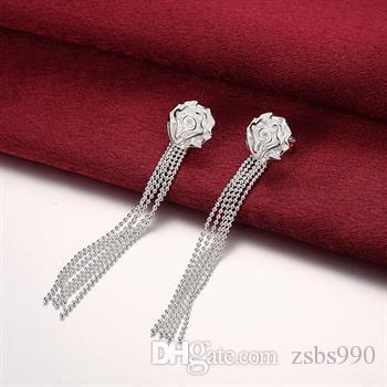 Chaude 925 argent sterling rose collier bracelets Bagues Boucles D'oreilles Ensemble De Bijoux Charme mariage cadeaux pour les femmes /