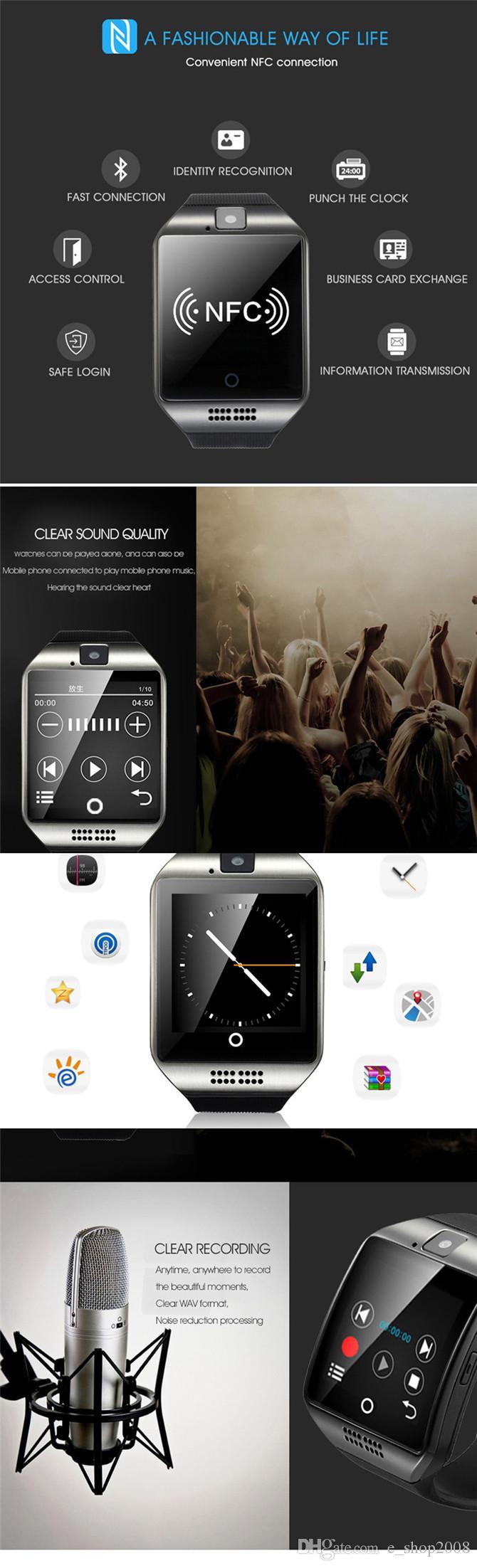 Q18 smart watch toque relógio de pulso nfc câmera remota 500 mah bateria sim para iphone 6 s / 6 / 5s / 4s htc xiaomi 3 telefone andriod