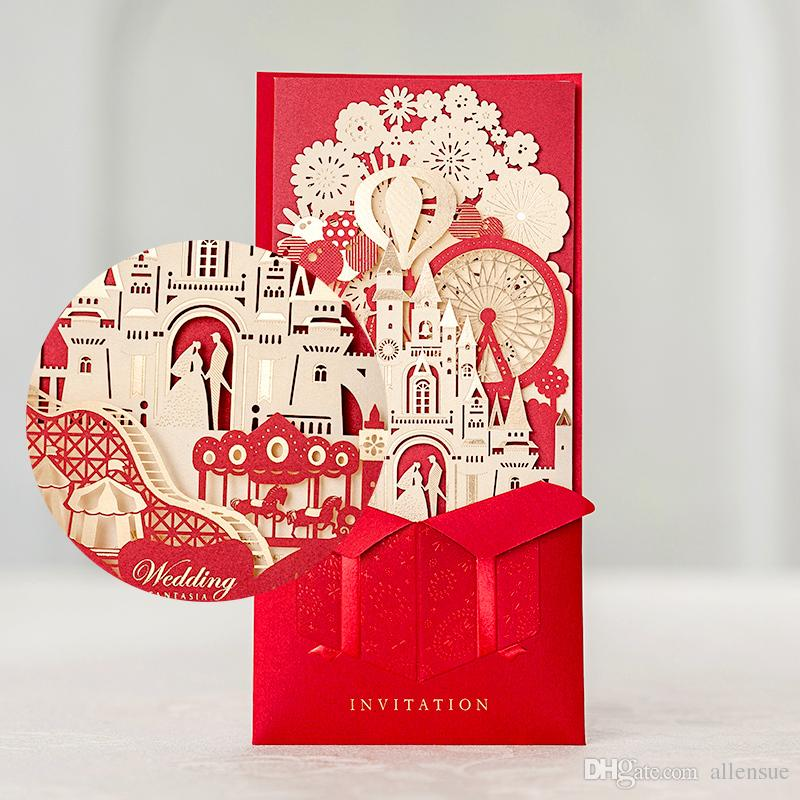 Elegant 3D Castle Invitation Card Laser Cut Gold Foil Wedding ...