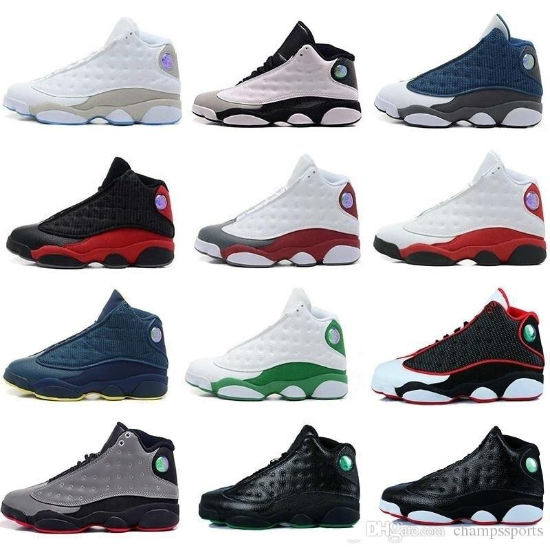 6e9a910a2c6a21 Cheap 2018 High Quality Shoes 13 XIII 13s Men Basketball Shoes Women Bred  Black Brown White Hologram Flints Grey Sports Sneakers Size36 47 Youth  Basketball ...