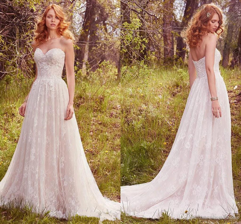 Discount Romantic Garden Sweetheart 2018 Wedding Dresses Full Lace ...