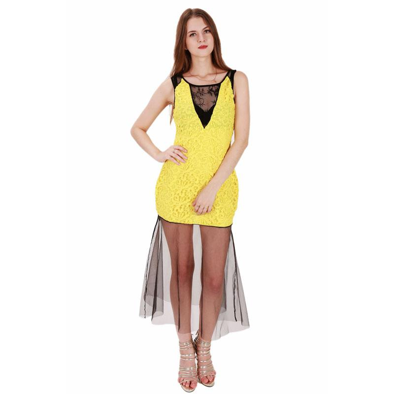 Plus Size Yellow Sleeveless Maxi Dress Elegant Lace Embroidery ...