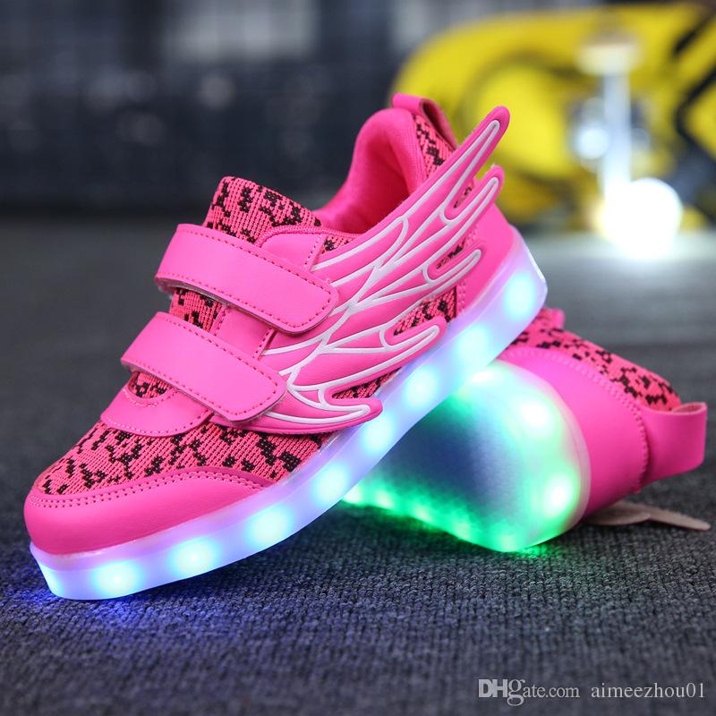 e8b72087a720 New USB Charging Shoes Adults LED Luminous Light Up Shoes Children Kids  Sneakers Men Wings Woman Breathable Athletic Girls Shoes Boys Kids Track  Spikes Kids ...