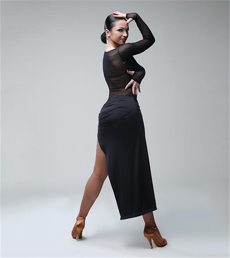Бесплатная доставка черный взрослый / девушка латинского танца платье сальса танго чача бальное платье танцевальное платье сетка шить сексуальное платье с v-образным вырезом