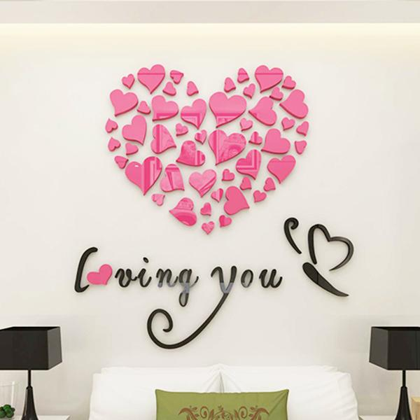 Romantic style wall decals diy mirror combination personalised wall stickers acrylic material home bedroom wall stickers wall stickers children wall