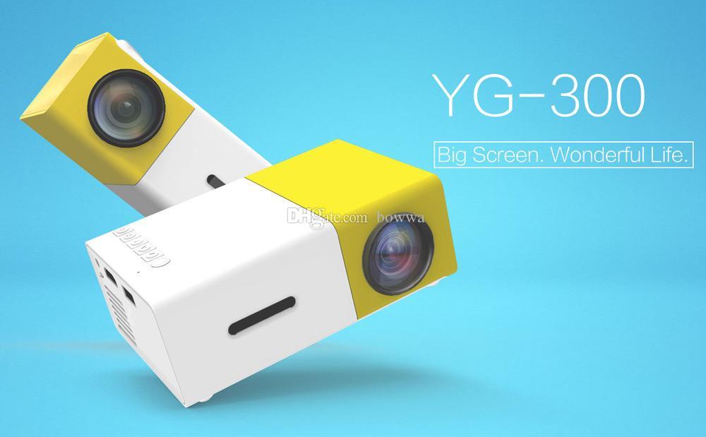Proiettore LED portatile YG300 Cinema Theater PCLaptop Proiettore mini tasca Pocket USB / SD / AV / HDMI con pacchetto di vendita DHL gratuito