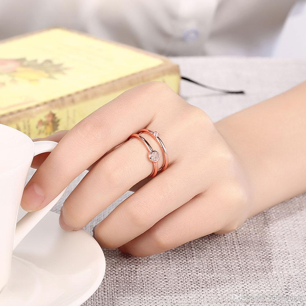 Hot Sale Ring For Wedding Party Rose Gold Plated Cubic Zirconia Women Charm Adjustable Finger Cuff Ring Christmas gift Wholesale Jewelry