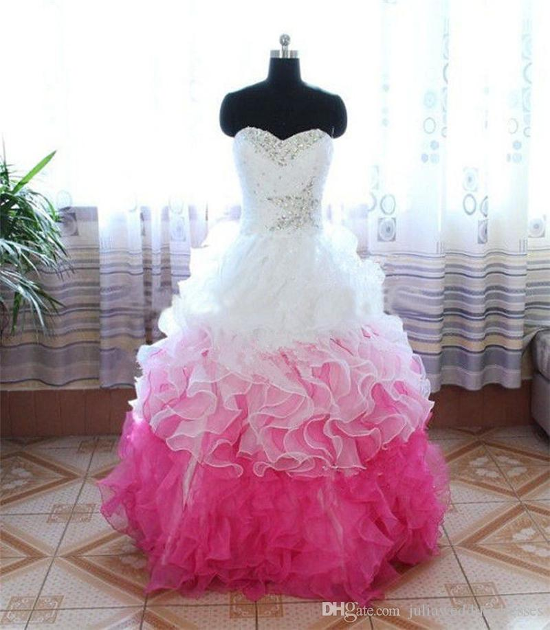 Hot Sale White Fusia Ball Gown Quinceanera Dresses 2017 with Crystals Beaded Formal Prom Sweet 16 Pageant Debutante Party Gown BM70