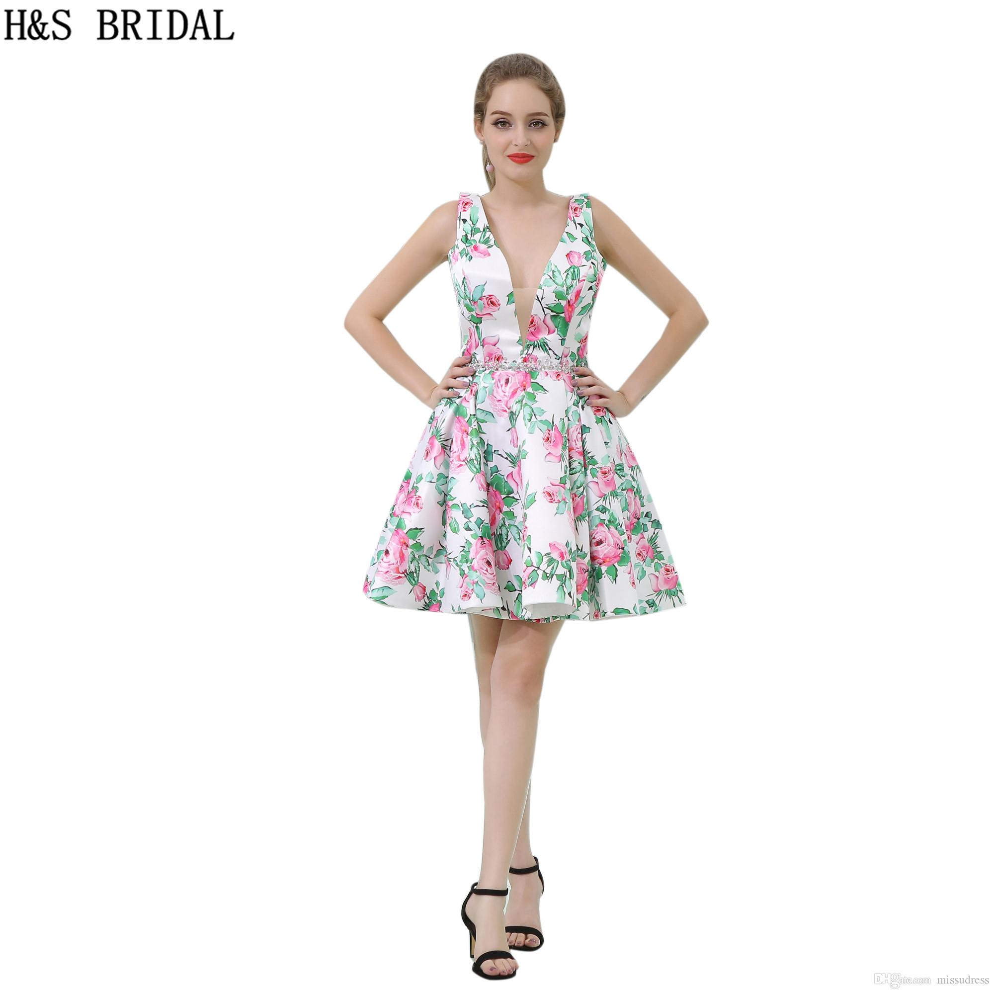 V Neck Prom Dresses Printed Flowers Sexy Short Sequins Belt Girls ...