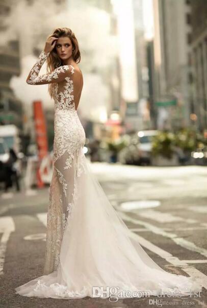 Сексуальная 2019 Берта Русалка свадебные платья иллюзия с длинными рукавами спинки кружева аппликация Sheer тюль пляж свадебные платья на заказ EN90410