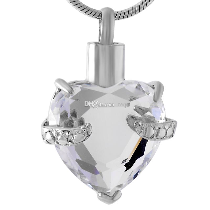 IJD8072 cuore di cristallo piatto in acciaio inox cremazione ciondolo collana memoria ceneri Keepsake Urn Holder collana ciondolo solo