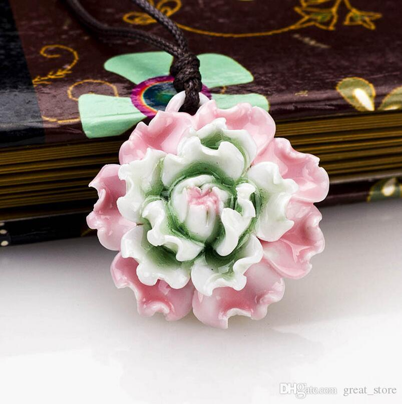 Brand new Ceramic national wind necklace traditional pinch flower hand peony peony WFN477 with chain a