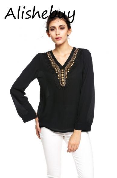 c63b109533b7bf 2019 Korean Style Fashion Rivets Blouses Womens Girl Long Sleeve Chiffon  Shirt Coat V Collar Bronze Flat Studs Tee Shirt Tops Black White 14023 From  U_king, ...