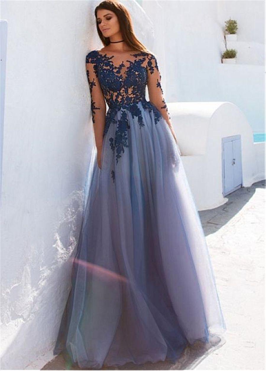 großhandel bateau ausschnitt lange Ärmel a linie abendkleider mit  spitzenapplikationen durchsichtig blaues abendkleid vestidos de formatura  von