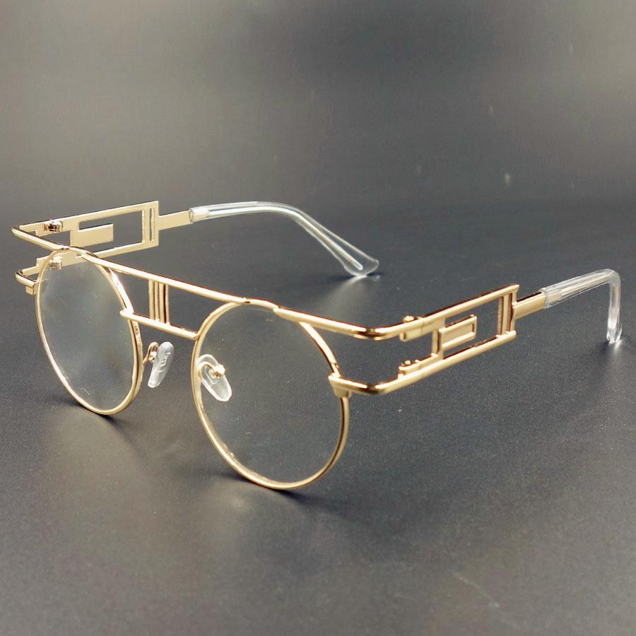 035b2c4c0db Wholesale Steampunk Sunglasses Clear Lens Glasses Eyewear Frame Gothic Flat  Top Vintage Round Glasses Men Women Luxury Brand Sunglasses Sunglasses At  Night ...
