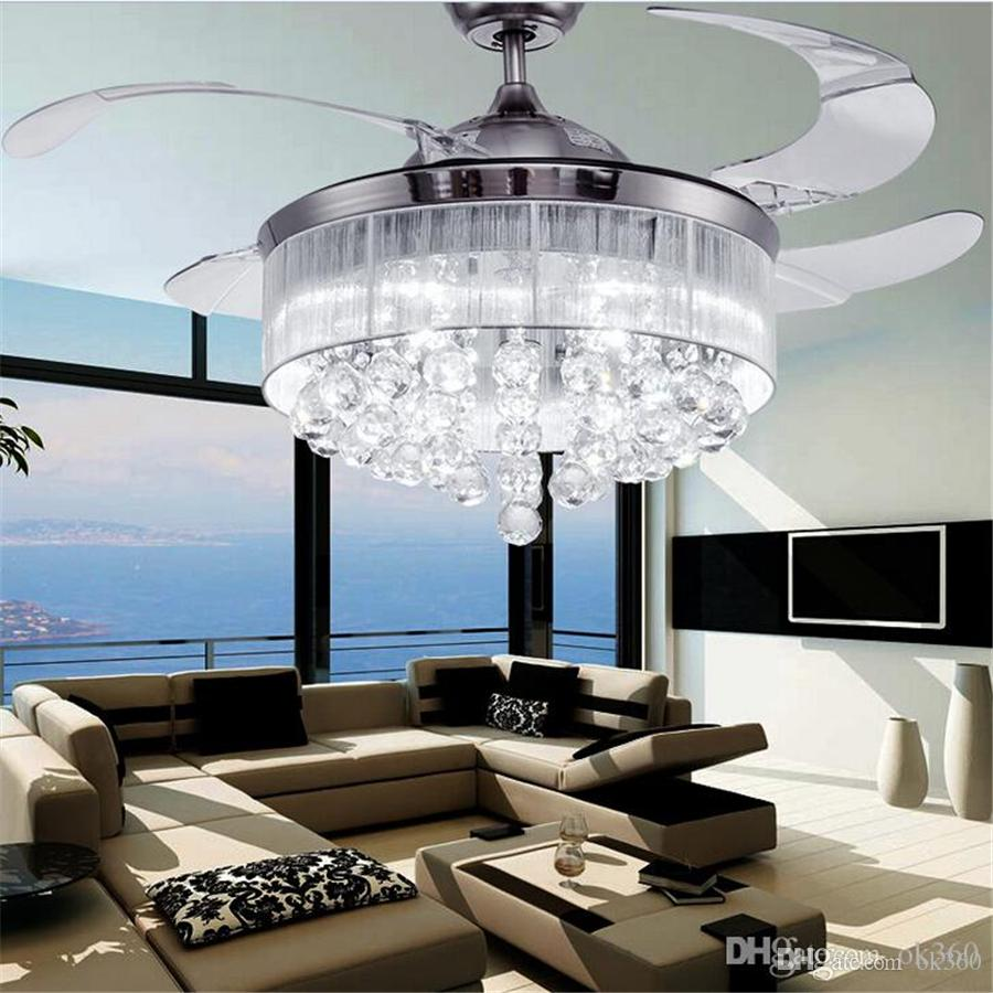 led ceiling fans light ac 110v 220v invisible blades ceiling fans modern fan lamp living room bedroom chandeliers ceiling light pendant lamp online with - Modern Ceiling Lights Living Room