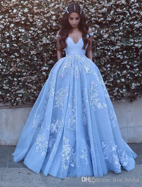 Acheter Bleu Ciel Princesse Ball Robe De Mariée Robes Avec 3d Appliques Florales De Mariage Robe Hors De Lépaule Vintage A Ligne Robes De Mariée