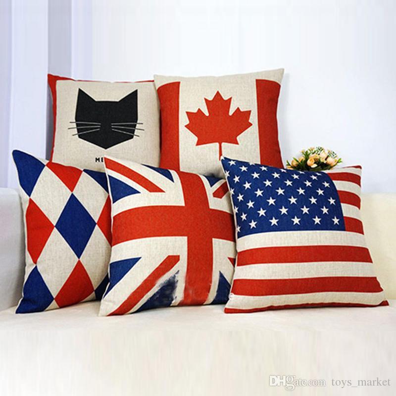 وسادة الحالات رمي وسادة تغطي الولايات المتحدة الأمريكية المملكة المتحدة العلم فرنسا كندا يترك وسادة القضية وسادة تغطي ديكورات المنزل 18 * 18 بوصة