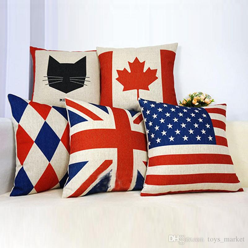 Pillow Cases Throw Pillow Covers USA UK Flag France Canada Leaves