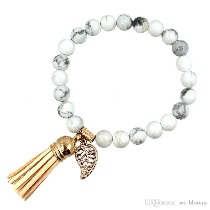 8mm Tassel Leaves Pendant Bracelet Natural Stone Essential Oil Diffuser Handmade Bangle Women Jewelry Yoga Energy Bracelets Kimter-B346S FZ