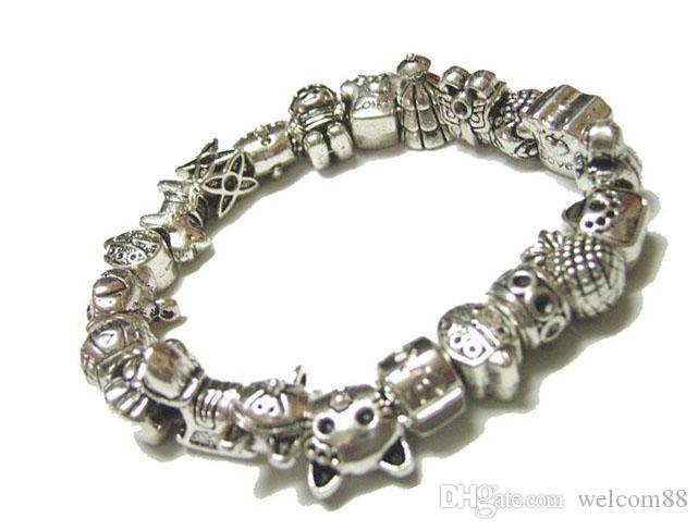 50 unids / lote Mix Style Tíbet Plata Charms Beads Para DIY Craft Pulsera Europea Joyería de Moda Gfit Envío libre C18