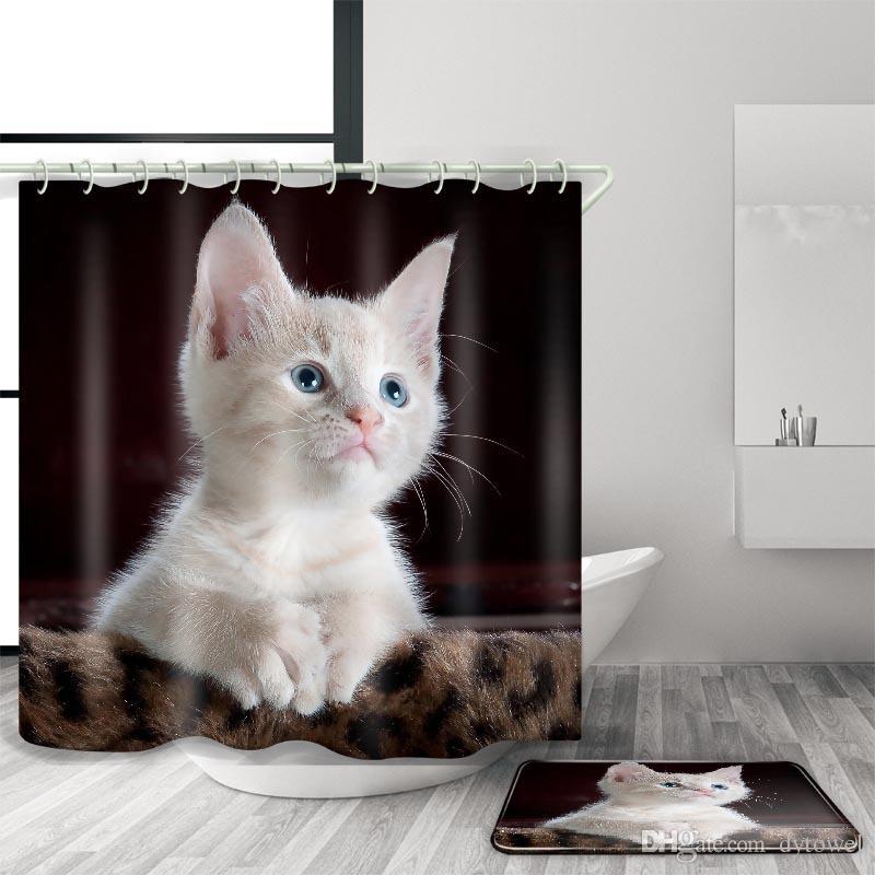 2018 Wholesale Cute Cat Face 3d Shower Curtains Size 180 X 180 Cm ...