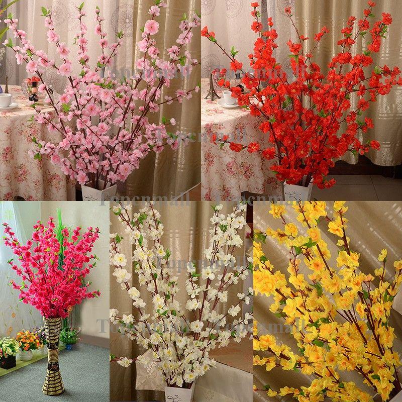 artificiale ciliegia primavera prugna fiore ramo ramo fiore di seta albero la decorazione della festa nuziale bianco rosso giallo colore rosa
