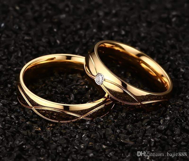 New Wedding Bands Couple Rings For Women Men Gold Plated Stainless Steel Engagement Ring Best Valentine Gift