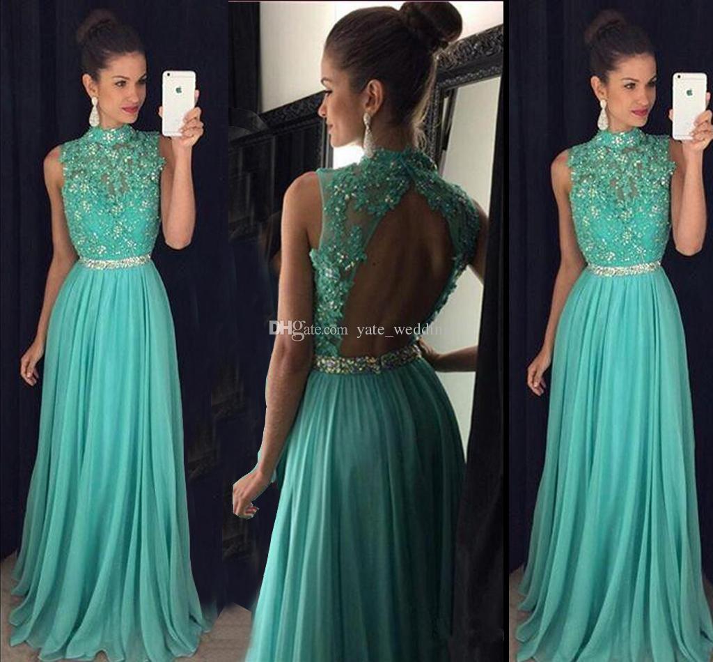 Modest Verde Beading Longo Prom Vestidos de Alta Pescoço Apliques Chiffon Até O Chão Sem Encosto Evening Vestidos Formais Vestidos de Festa