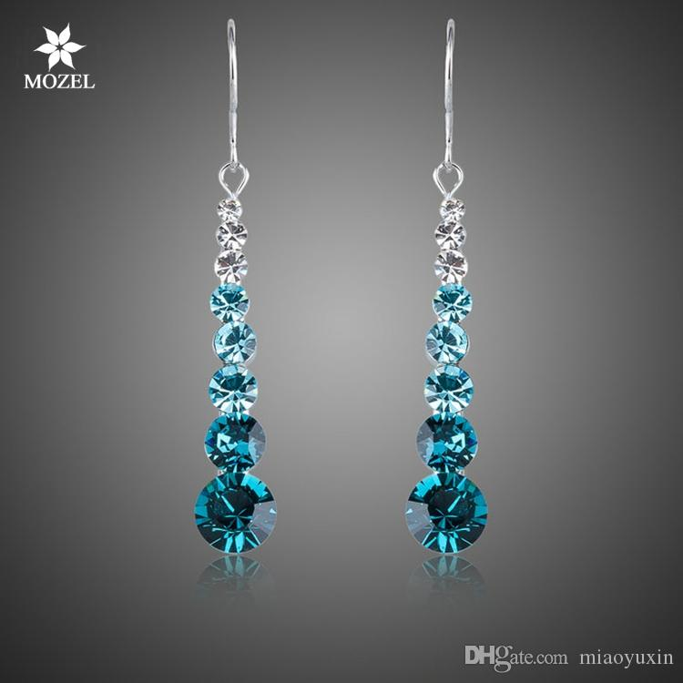 Wholesale Platinum Plated Swarovski Elements Blue Round Stellux Austrian  Crystal Wedding Drop Wedding Earrings For Women XE034