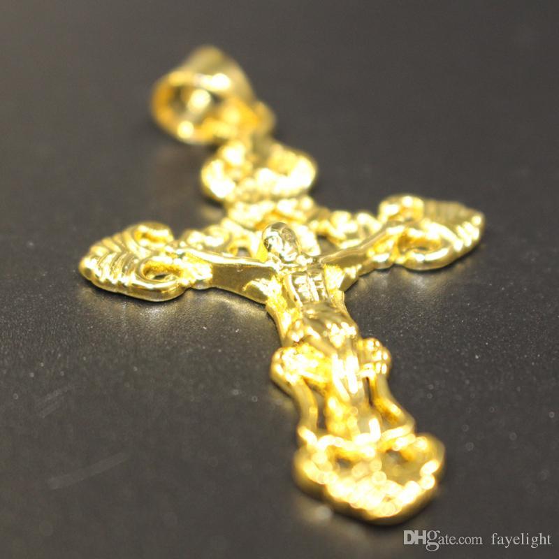 Trendy 24 k Yellow Gold Filled Religião Mens Sólida Sem Pedra Cruz Filigrana Colar de Pingente de Cadeia de Jóias 6G