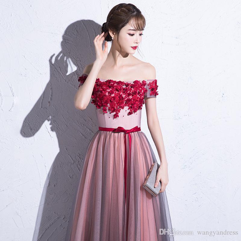 2017 dulce sexy beteau cuello flor roja rebordear tul vestido de noche con faja fina con cordones hasta el suelo hasta la fiesta vestido de fiesta desgaste formal