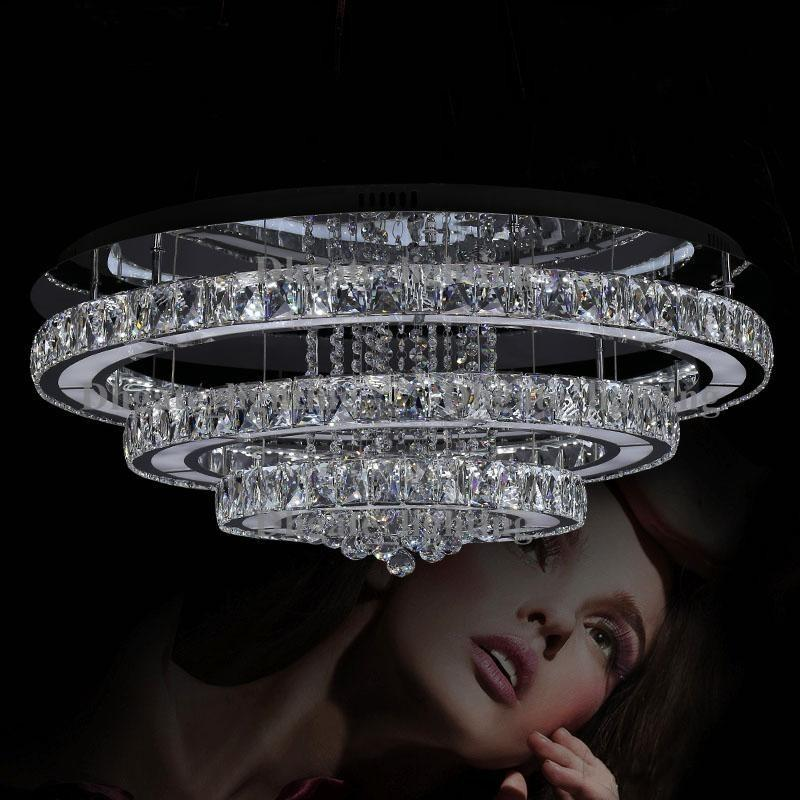 2017 New Study Dining Room Living Led Lamp Ring Three Sides Villa Hotel Crystal Diamond Ceiling Lights Lustres Light From Dhgate Lighting