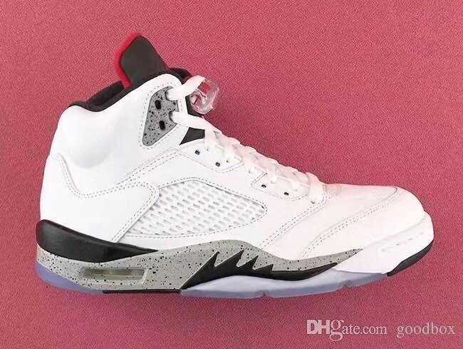 white cement 5s online Wholesale discount basketball shoes With Box Men Size 40-47