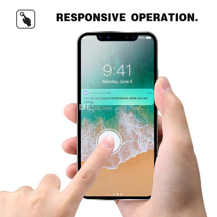 Protecteur d'écran de couverture complète en verre trempé de jante en titane pour Iphone XS Max