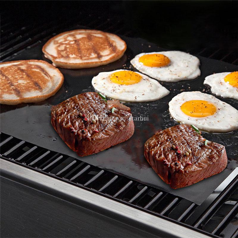 BBQ 석쇠 매트 재사용 할 수있는 비 지팡이 BBQ 석쇠 매트 장 휴대용 쉬운 청결한 OutDoor 요리 공구 BBQ 강철 40cm * 33cm * 0.2mm WX-C23