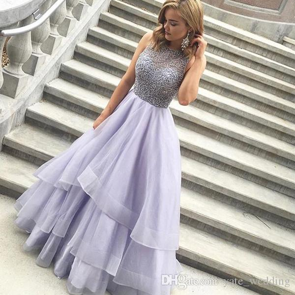 Beading Tiered Ball Gown Prom Dresses 2017 Charming Scoop Sleeveless Organza Backless Lavender Long Evening Dresses Formal Gowns